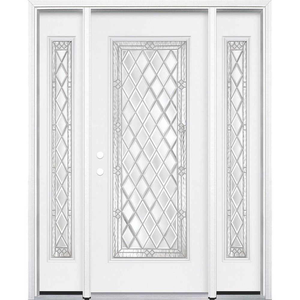 Masonite 69-inch x 80-inch x 6 9/16-inch Nickel Full Lite Right Hand Entry Door with Brickmould