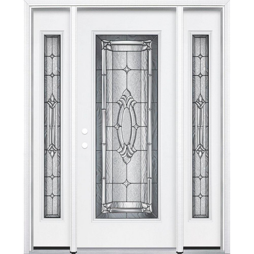 Masonite 65-inch x 80-inch x 6 9/16-inch Antique Black Full Lite Right Hand Entry Door with Brickmould