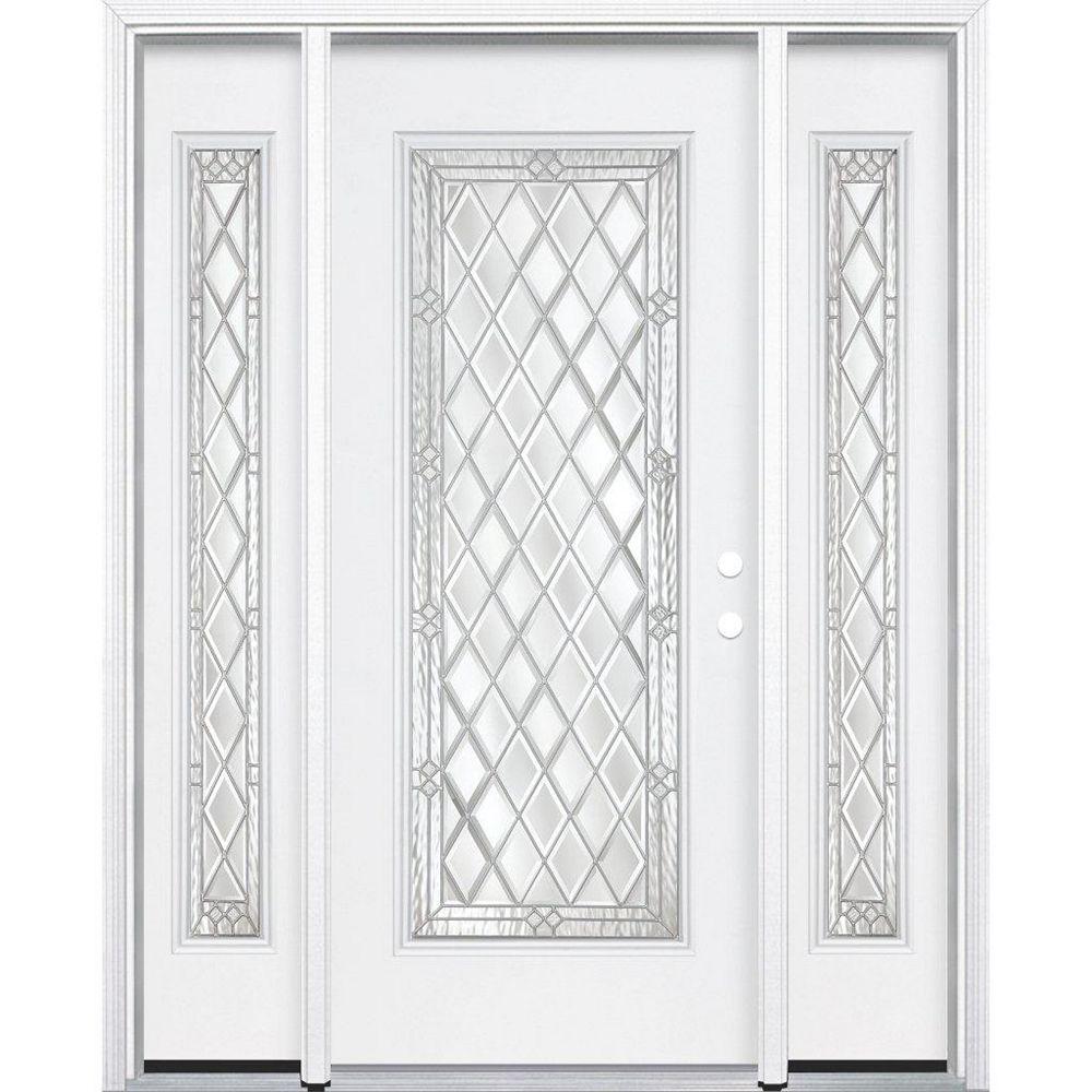 Masonite 65-inch x 80-inch x 4 9/16-inch Nickel Full Lite Left Hand Entry Door with Brickmould