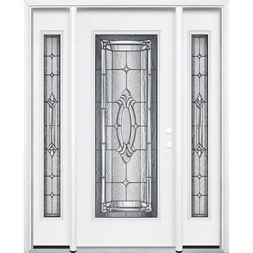 69-inch x 80-inch x 6 9/16-inch Antique Black Full Lite Left Hand Entry Door with Brickmould