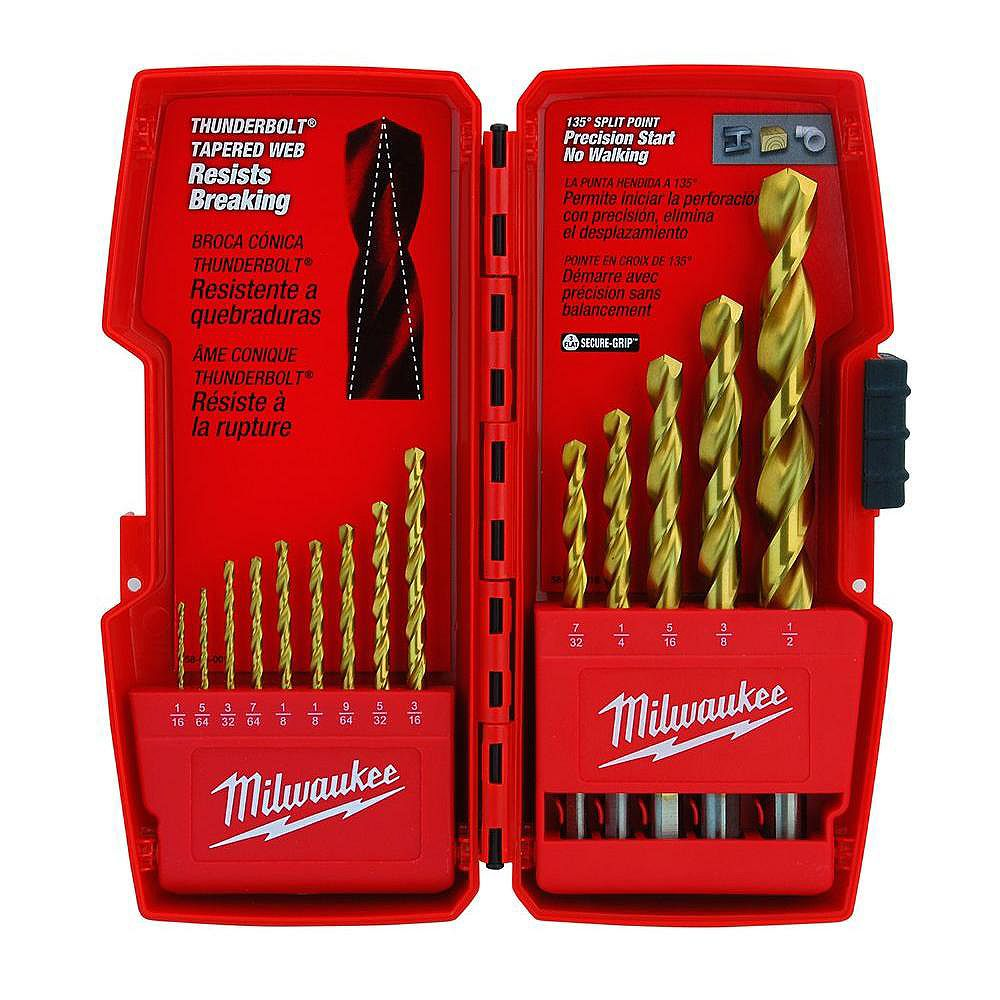 Milwaukee Tool Thunderbolt Titanium Coated Drill Bit Set (14-Piece)