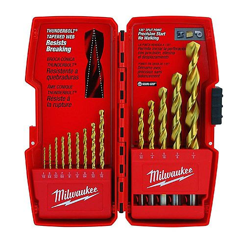 Thunderbolt Titanium Coated Drill Bit Set (14-Piece)