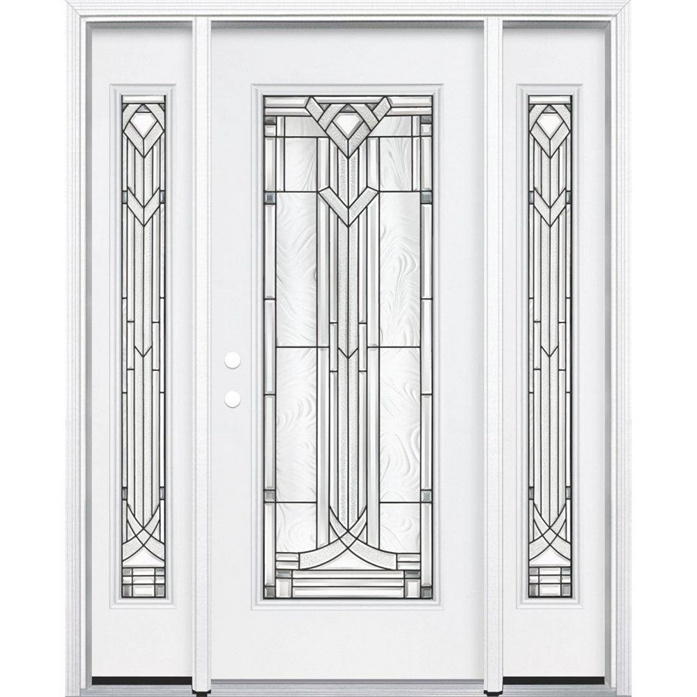Masonite 67-inch x 80-inch x 4 9/16-inch Antique Black Full Lite Right Hand Entry Door with Brickmould