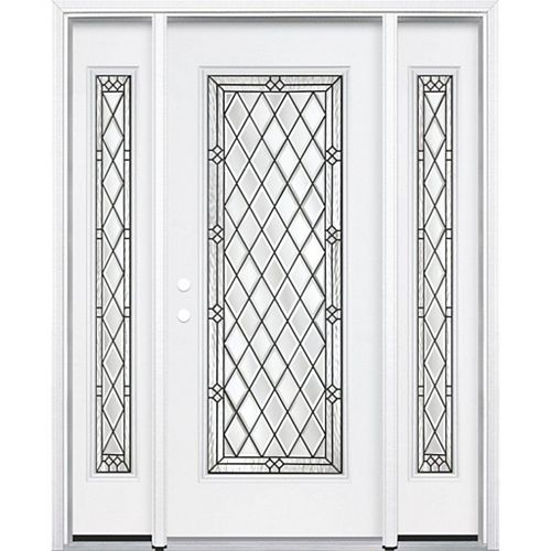65-inch x 80-inch x 4 9/16-inch Antique Black Full Lite Right Hand Entry Door with Brickmould