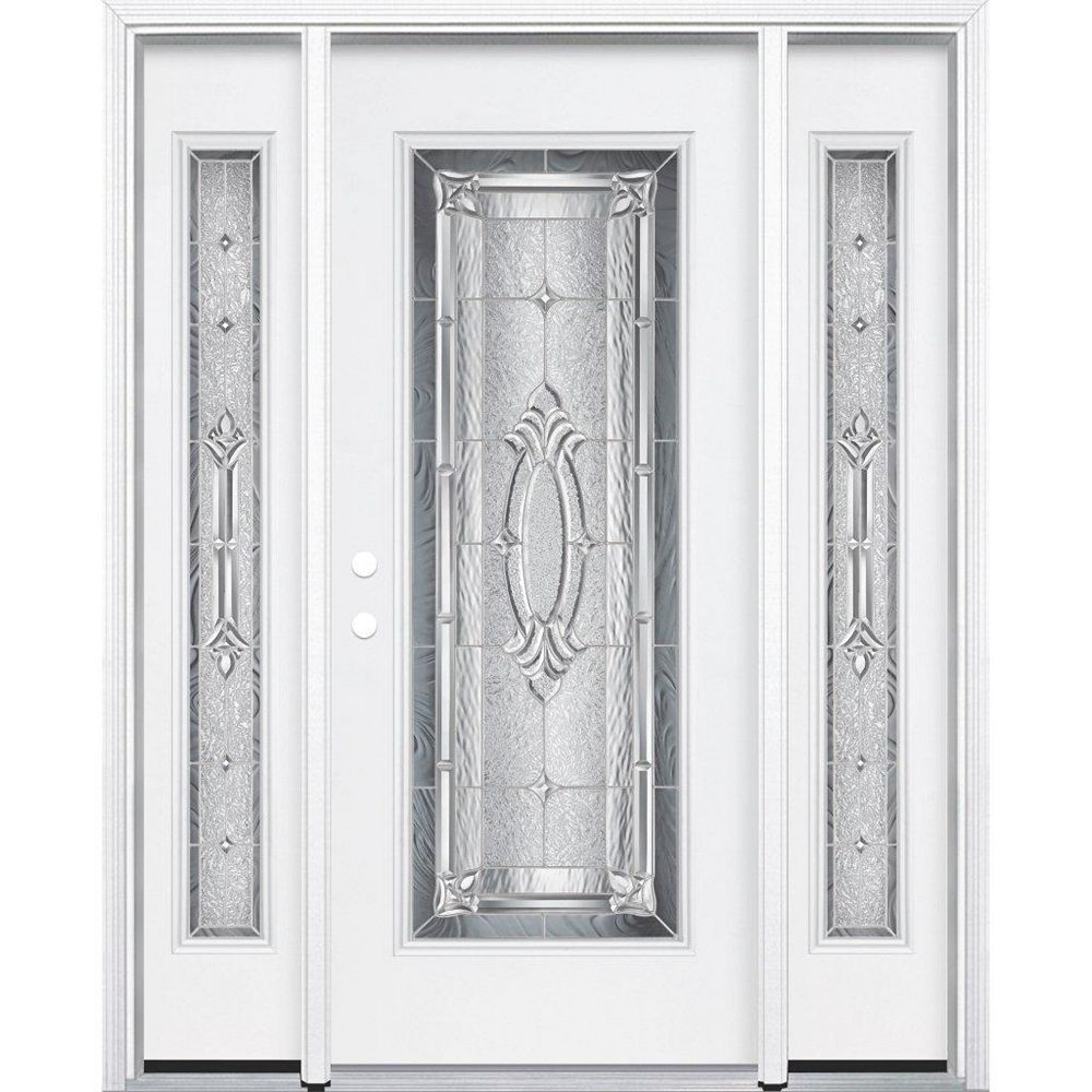 Masonite 65-inch x 80-inch x 4 9/16-inch Nickel Full Lite Right Hand Entry Door with Brickmould