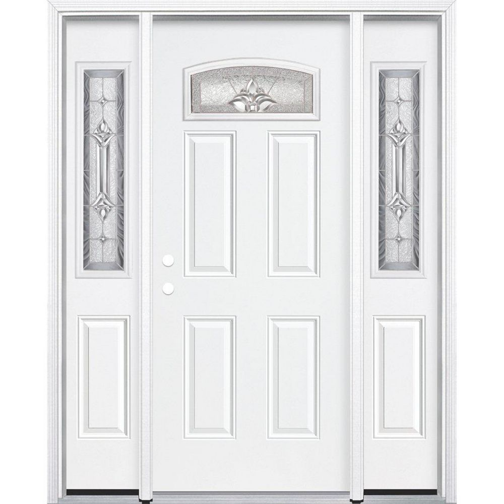 Masonite 69-inch x 80-inch x 4 9/16-inch Nickel Camber Fan Lite Right Hand Entry Door with Brickmould - ENERGY STAR®