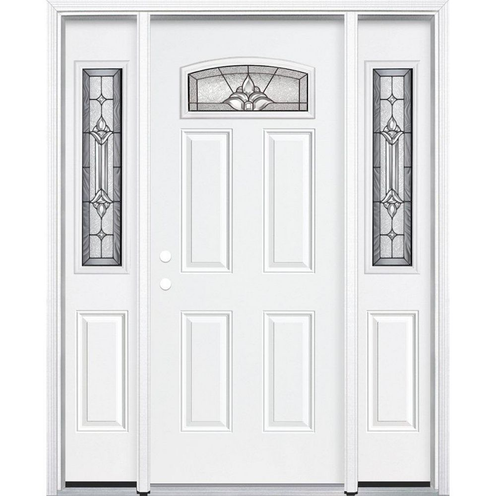 Masonite 69-inch x 80-inch x 6 9/16-inch Antique Black Camber Fan Lite Right Hand Entry Door with Brickmould - ENERGY STAR®