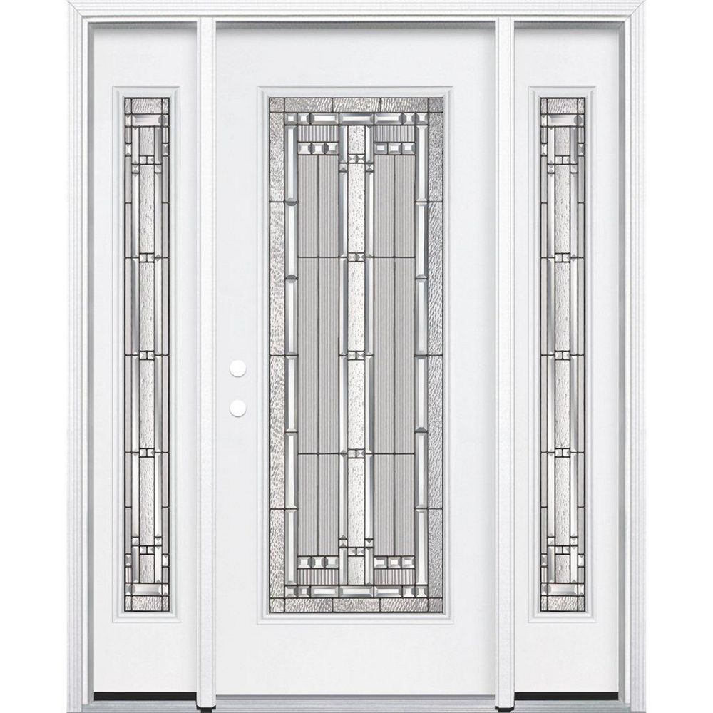 Masonite 69-inch x 80-inch x 6 9/16-inch Antique Black Full Lite Right Hand Entry Door with Brickmould