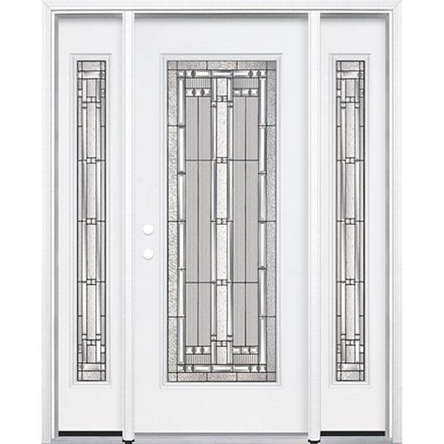 69-inch x 80-inch x 6 9/16-inch Antique Black Full Lite Right Hand Entry Door with Brickmould