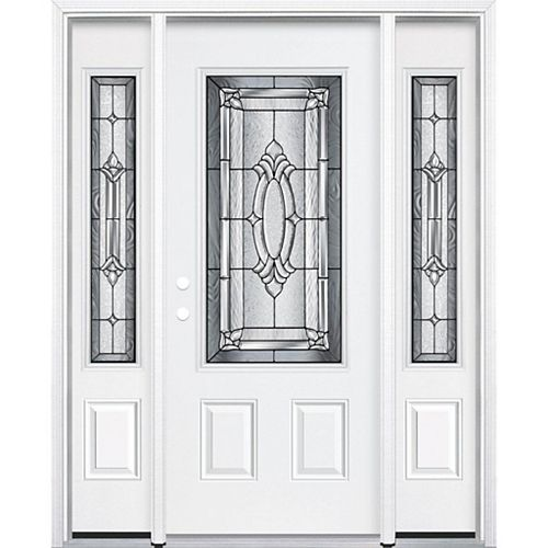 69-inch x 80-inch x 4 9/16-inch Antique Black 3/4-Lite Right Hand Entry Door with Brickmould