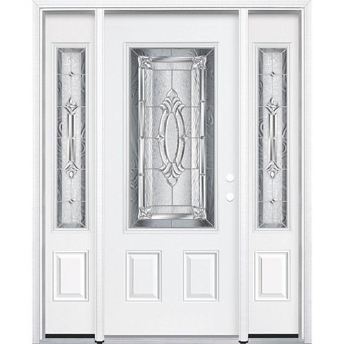 65-inch x 80-inch x 4 9/16-inch Nickel 3/4-Lite Left Hand Entry Door with Brickmould