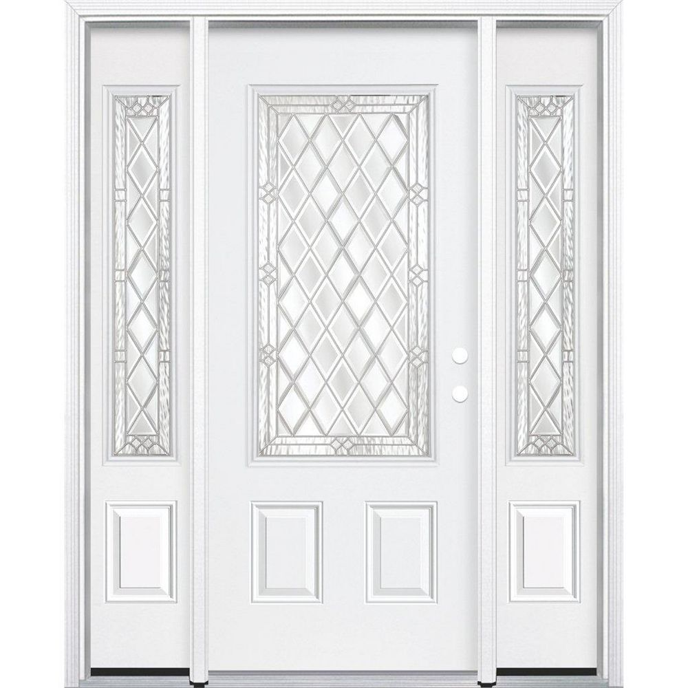 Masonite 67-inch x 80-inch x 6 9/16-inch Nickel 3/4-Lite Left Hand Entry Door with Brickmould