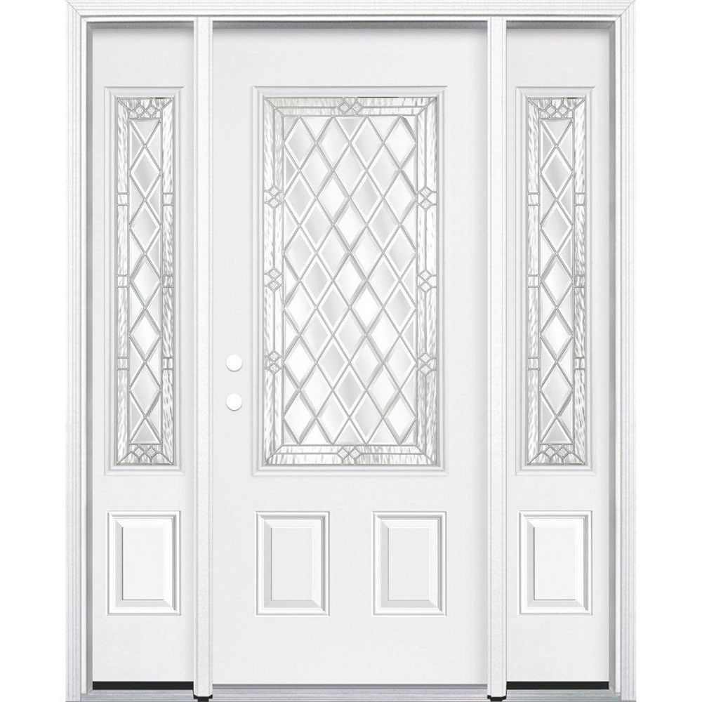Masonite 69-inch x 80-inch x 6 9/16-inch Nickel 3/4-Lite Right Hand Entry Door with Brickmould