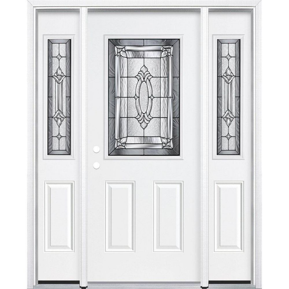 Masonite 69-inch x 80-inch x 4 9/16-inch Antique Black 1/2-Lite Right Hand Entry Door with Brickmould