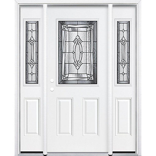 65-inch x 80-inch x 6 9/16-inch Antique Black 1/2-Lite Right Hand Entry Door with Brickmould - ENERGY STAR®