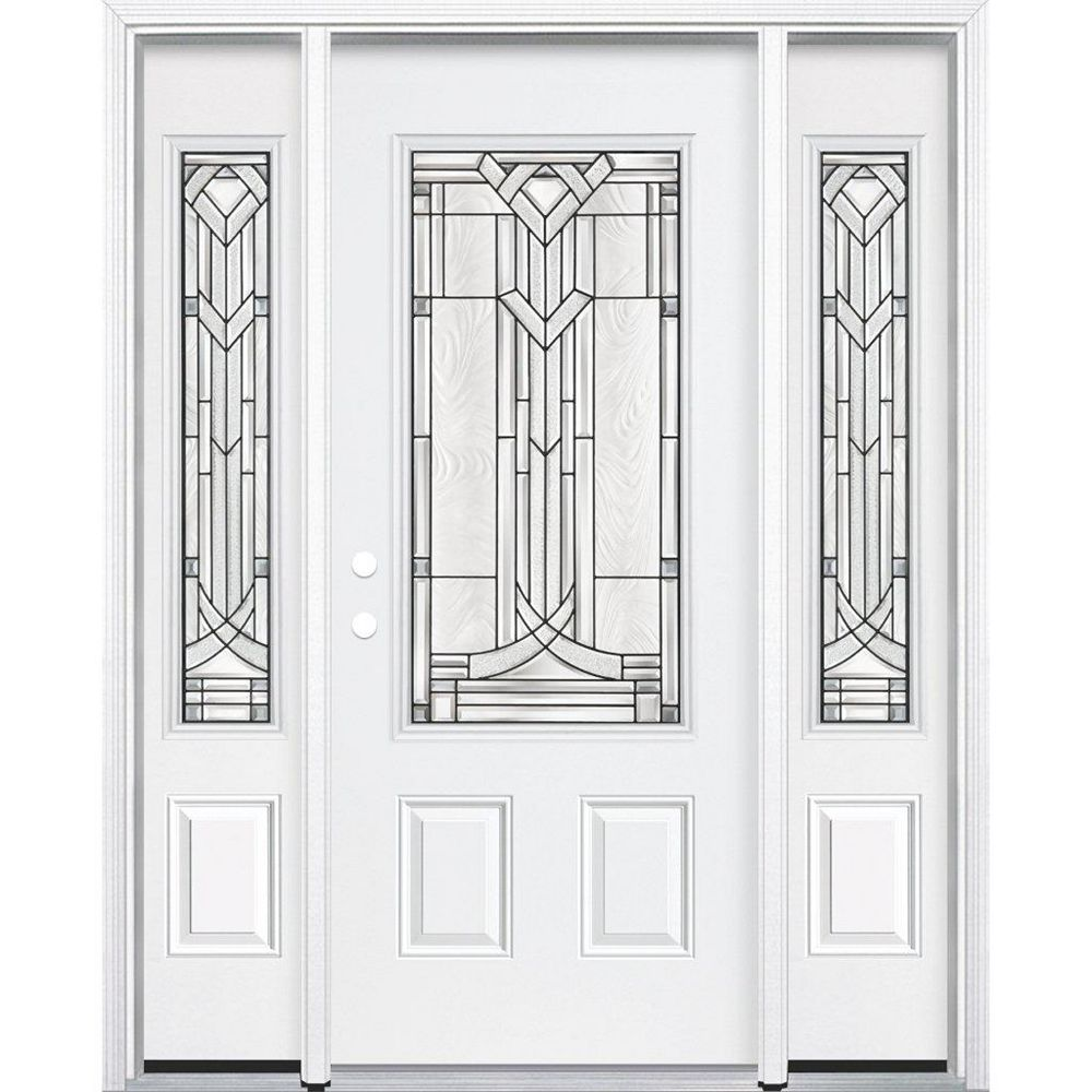 Masonite 69-inch x 80-inch x 4 9/16-inch Antique Black 3/4-Lite Right Hand Entry Door with Brickmould