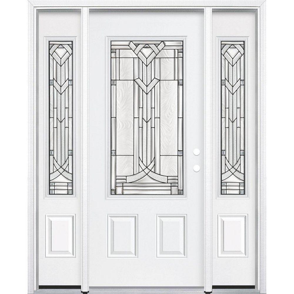 Masonite 69-inch x 80-inch x 4 9/16-inch Antique Black 3/4-Lite Left Hand Entry Door with Brickmould