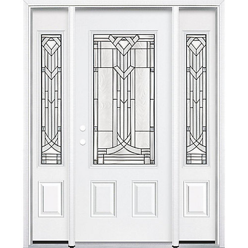 65-inch x 80-inch x 6 9/16-inch Antique Black 3/4-Lite Right Hand Entry Door with Brickmould - ENERGY STAR®