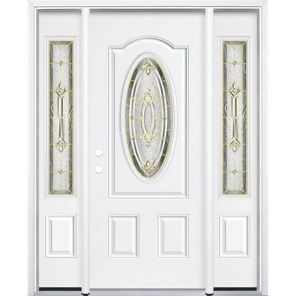 Masonite 69-inch x 80-inch x 6 9/16-inch Brass 3/4 Oval Lite Right Hand Entry Door with Brickmould