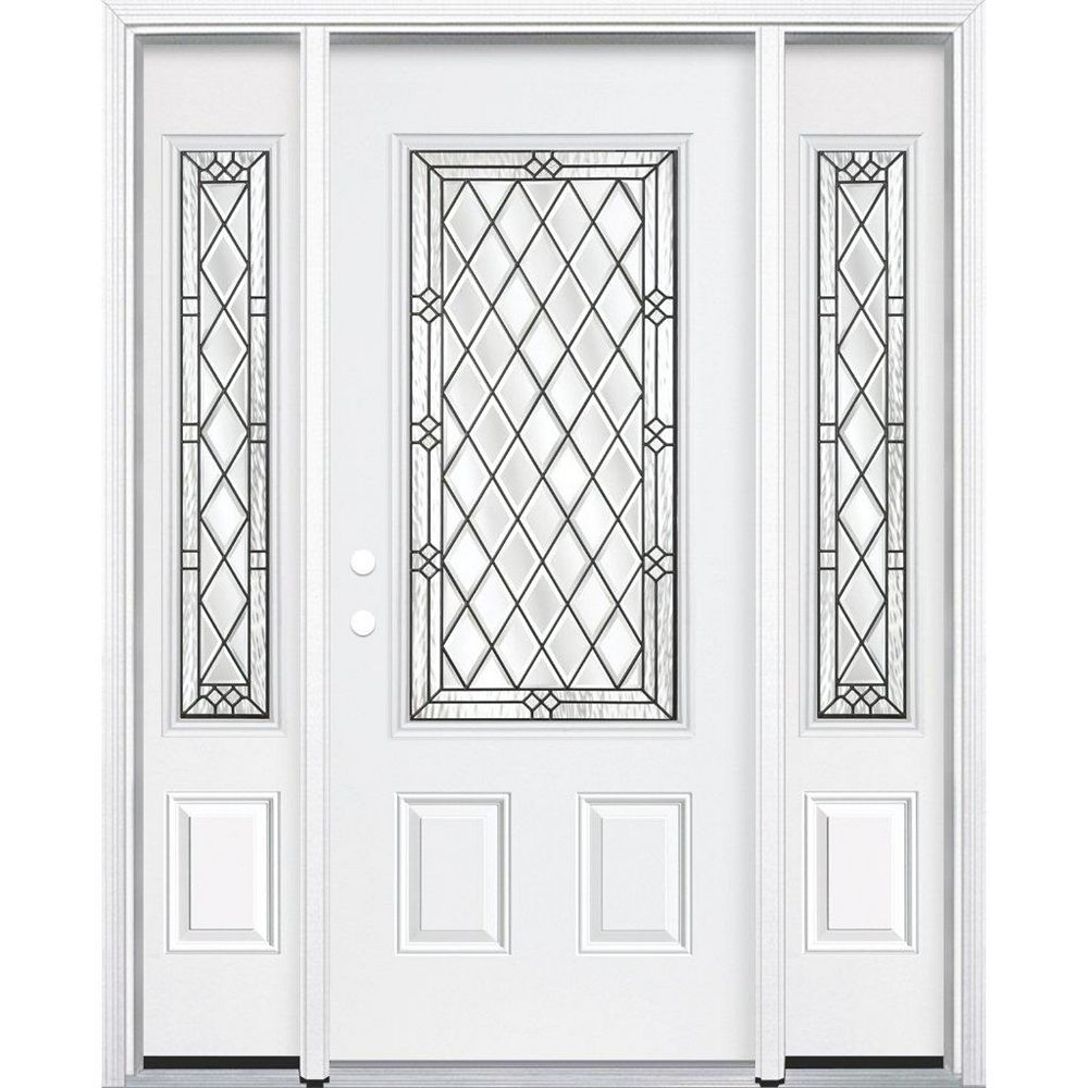 Masonite 67-inch x 80-inch x 6 9/16-inch Antique Black 3/4-Lite Right Hand Entry Door with Brickmould