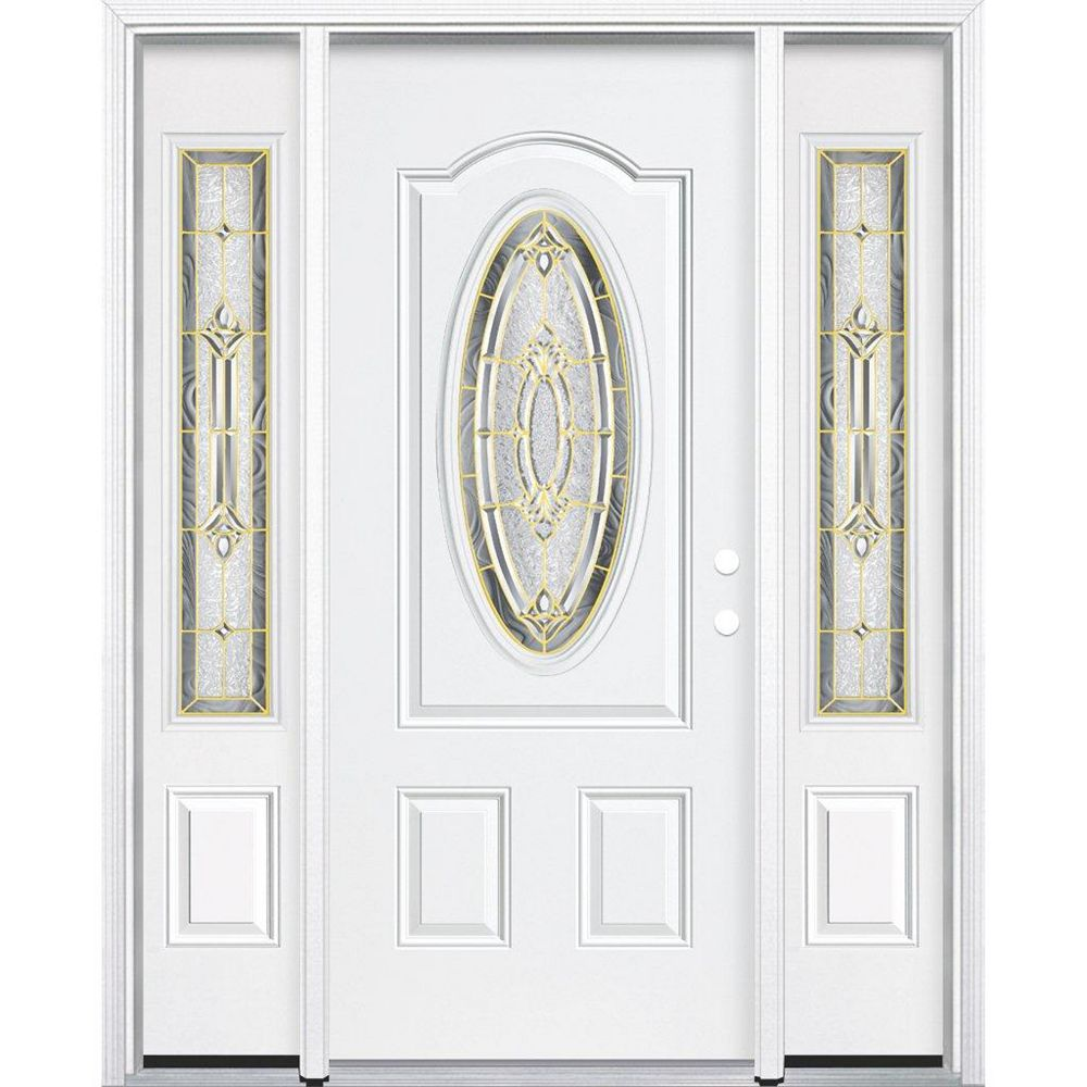 Masonite 69-inch x 80-inch x 6 9/16-inch Brass 3/4 Oval Lite Left Hand Entry Door with Brickmould