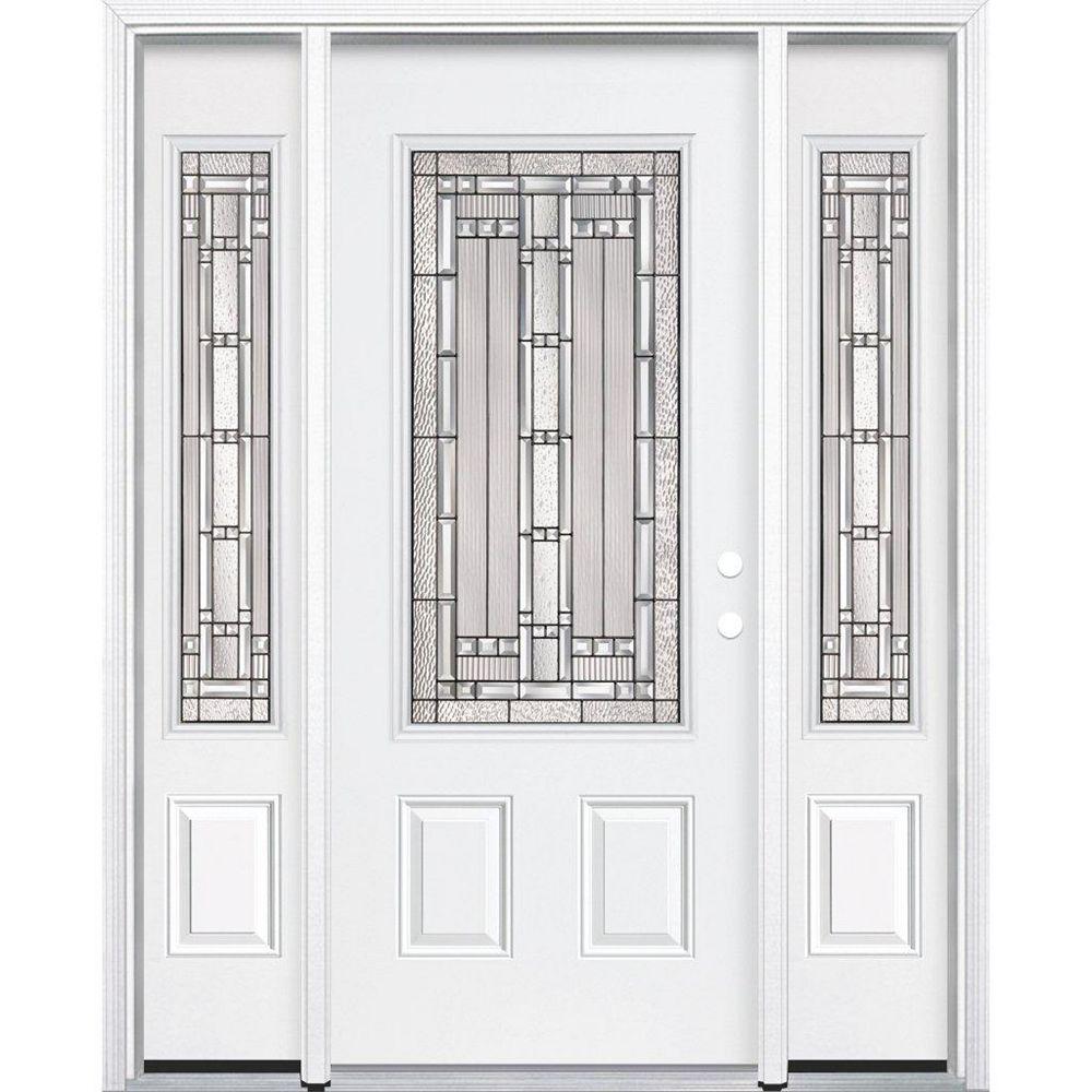 Masonite 65-inch x 80-inch x 4 9/16-inch Antique Black 3/4-Lite Left Hand Entry Door with Brickmould