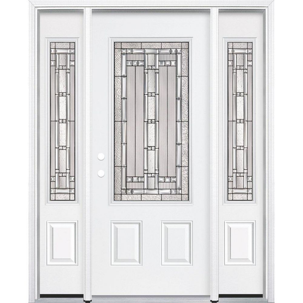 Masonite 65-inch x 80-inch x 4 9/16-inch Antique Black 3/4-Lite Right Hand Entry Door with Brickmould