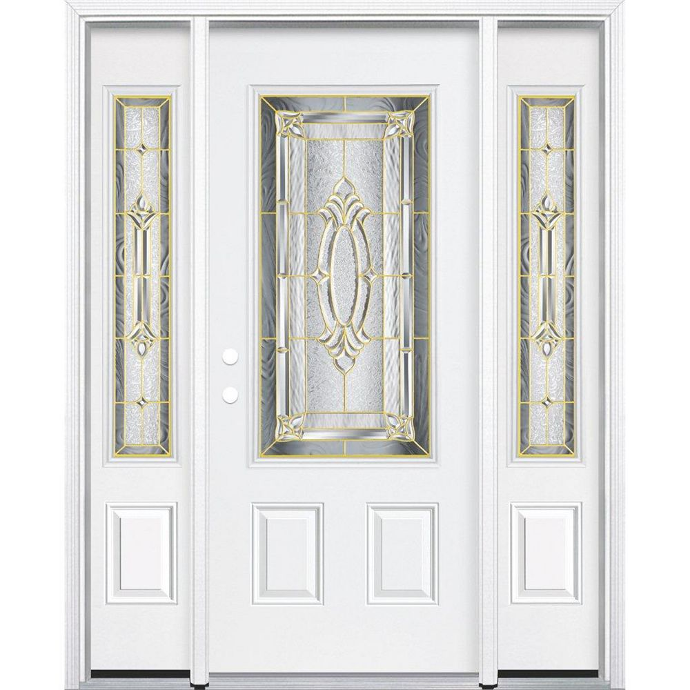 Masonite 69-inch x 80-inch x 4 9/16-inch Brass 3/4-Lite Right Hand Entry Door with Brickmould