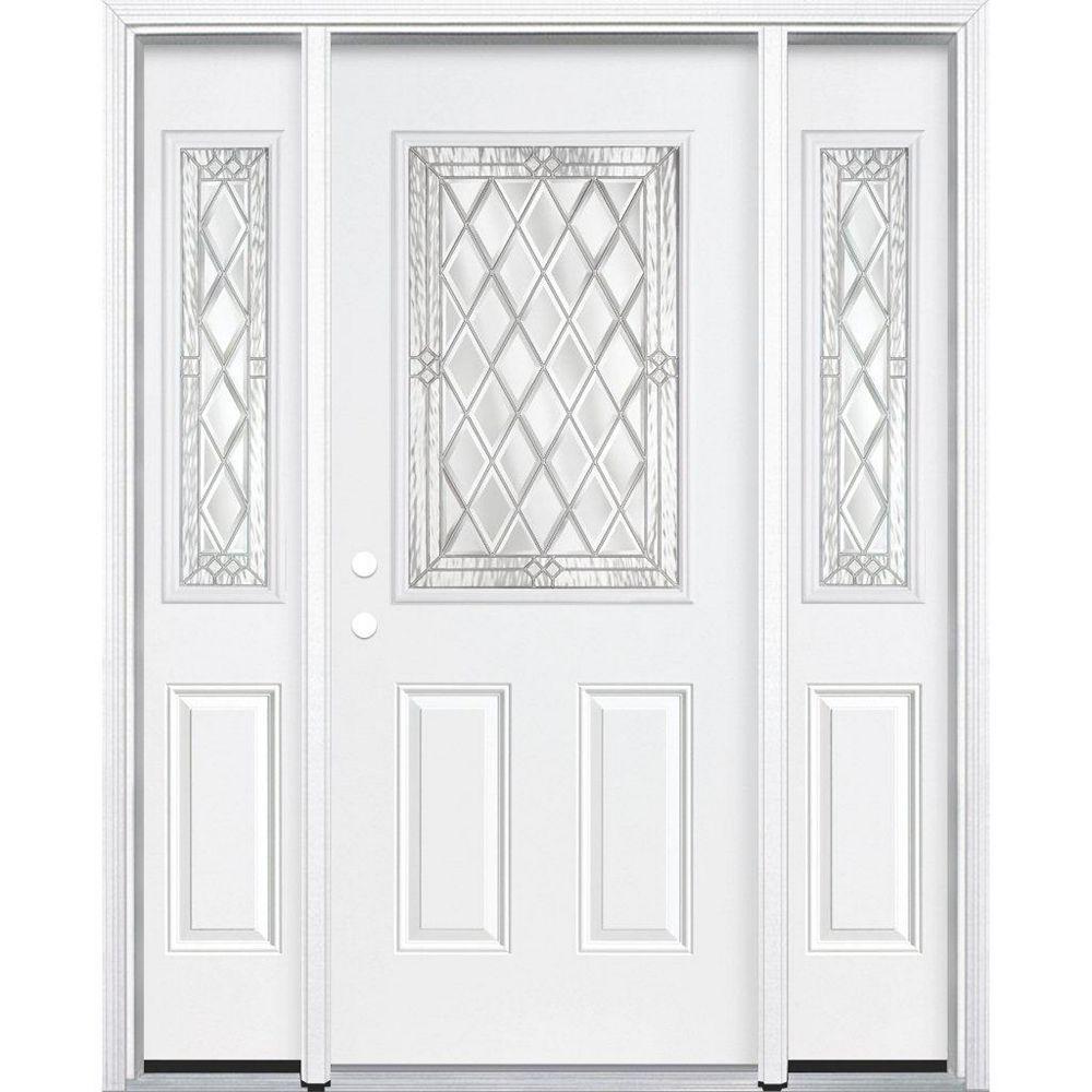 Masonite 65-inch x 80-inch x 4 9/16-inch Nickel 1/2-Lite Right Hand Entry Door with Brickmould