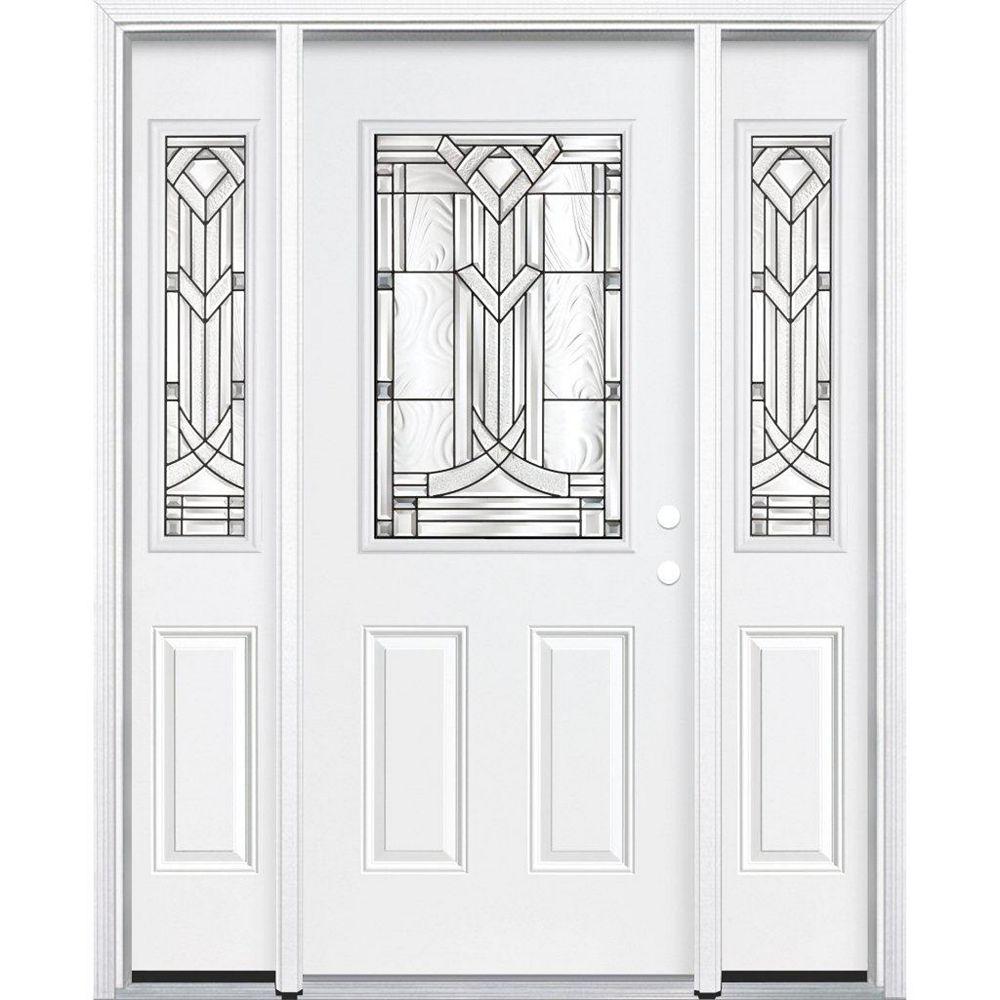 Masonite 69-inch x 80-inch x 6 9/16-inch Antique Black 1/2-Lite Left Hand Entry Door with Brickmould
