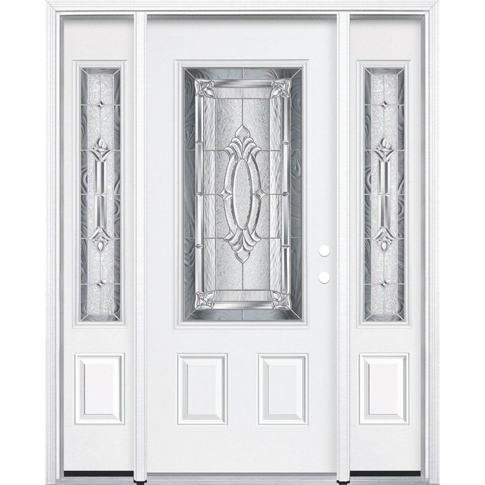 Masonite 69-inch x 80-inch x 6 9/16-inch Nickel 3/4-Lite Left Hand Entry Door with Brickmould