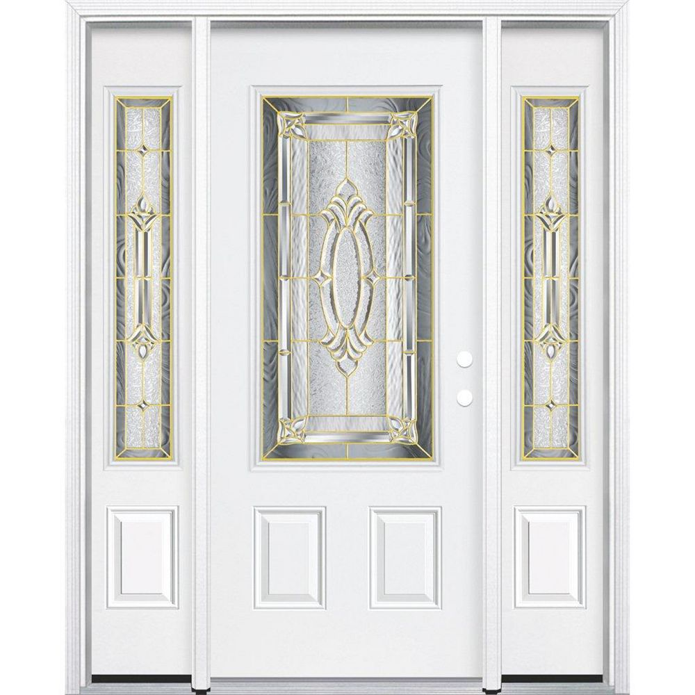 Masonite 65-inch x 80-inch x 4 9/16-inch Brass 3/4-Lite Left Hand Entry Door with Brickmould