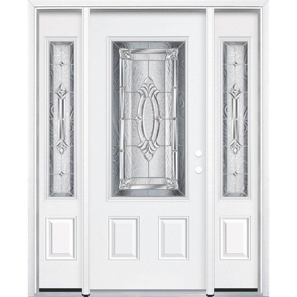 Masonite 67-inch x 80-inch x 4 9/16-inch Nickel 3/4-Lite Left Hand Entry Door with Brickmould