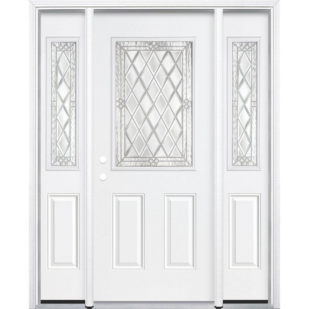 Masonite 67-inch x 80-inch x 4 9/16-inch Nickel 1/2-Lite Right Hand Entry Door with Brickmould