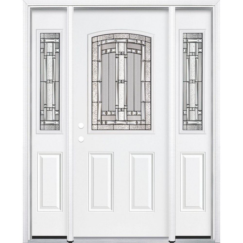 Masonite 69-inch x 80-inch x 6 9/16-inch Antique Black 1/2-Lite Right Hand Entry Door with Brickmould