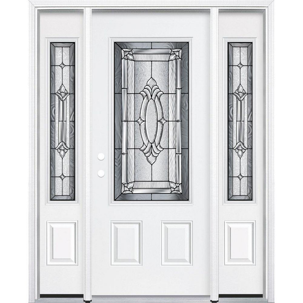 Masonite 67-inch x 80-inch x 4 9/16-inch Antique Black 3/4-Lite Right Hand Entry Door with Brickmould