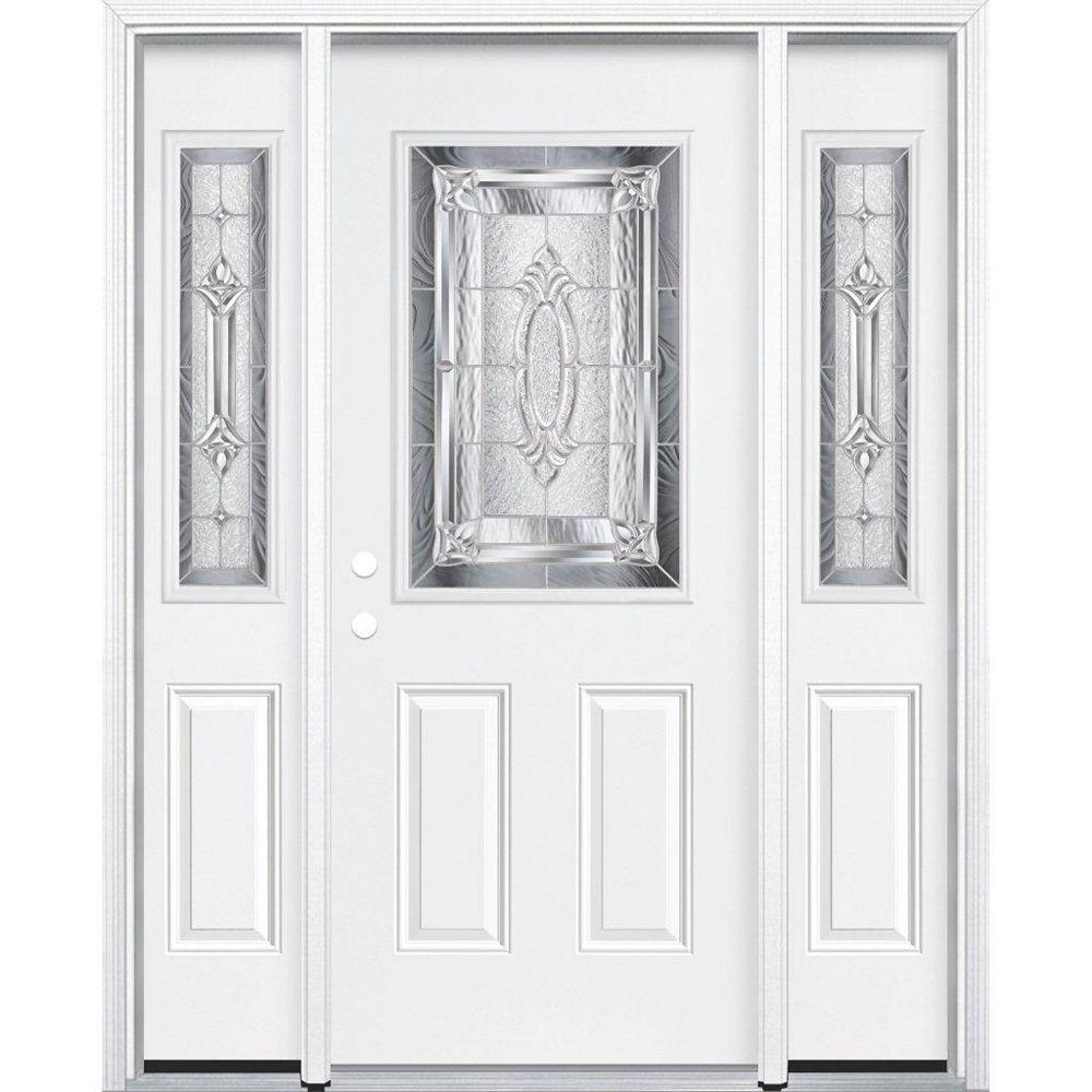 Masonite 69-inch x 80-inch x 6 9/16-inch Nickel 1/2-Lite Right Hand Entry Door with Brickmould