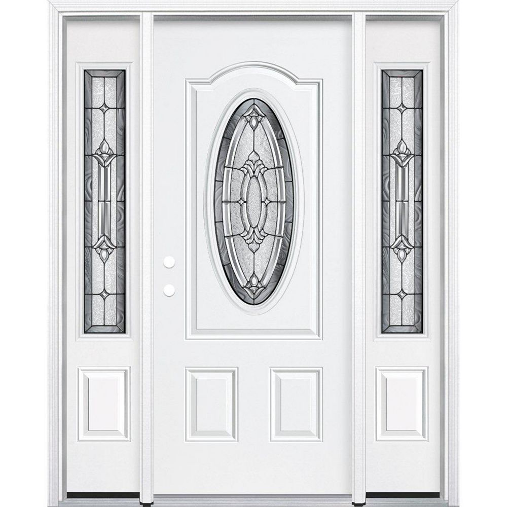 Masonite 65-inch x 80-inch x 6 9/16-inch Antique Black 3/4 Oval Lite Left Hand Entry Door with Brickmould