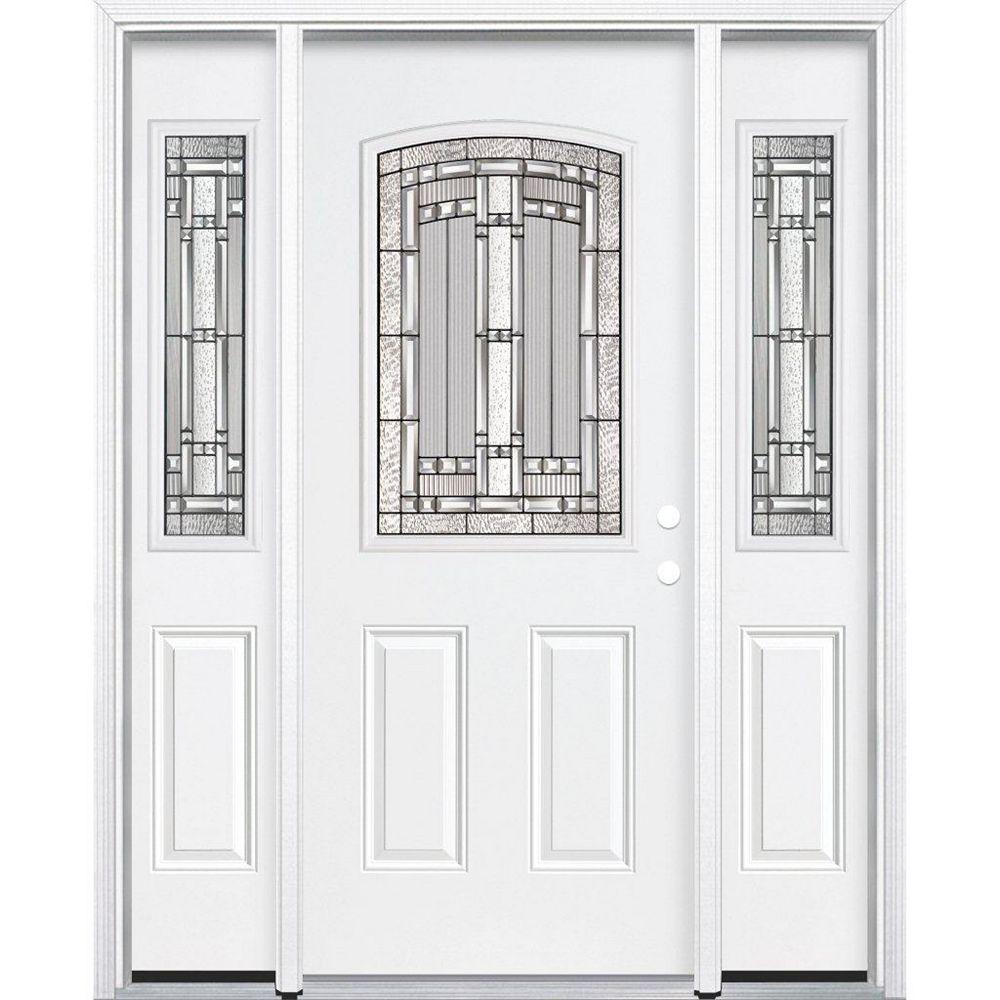 Masonite 65-inch x 80-inch x 6 9/16-inch Antique Black 1/2-Lite Left Hand Entry Door with Brickmould