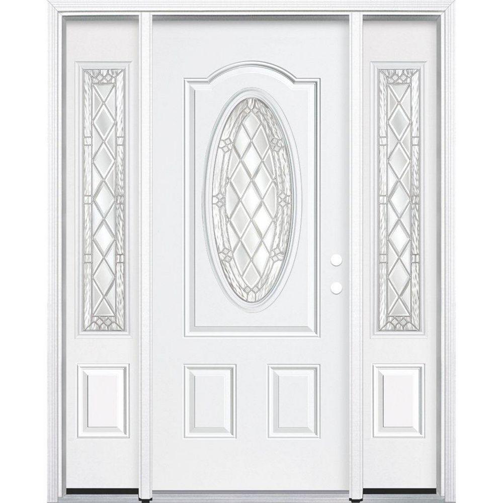 Masonite 67-inch x 80-inch x 4 9/16-inch Nickel 3/4 Oval Lite Left Hand Entry Door with Brickmould
