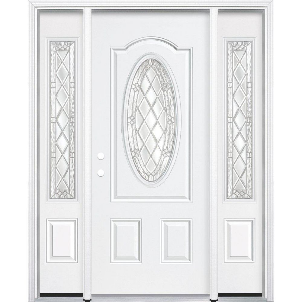 Masonite 67-inch x 80-inch x 6 9/16-inch Nickel 3/4 Oval Lite Right Hand Entry Door with Brickmould