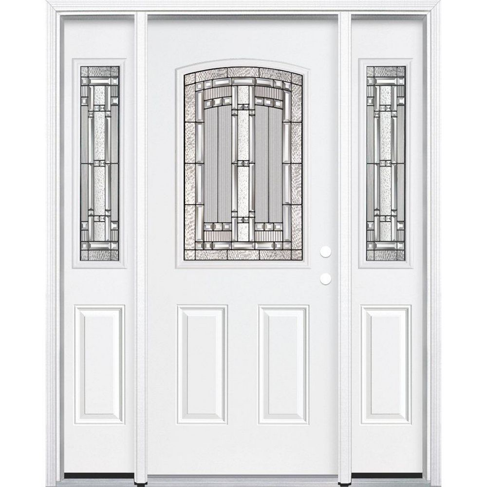 Masonite 67-inch x 80-inch x 4 9/16-inch Antique Black 1/2-Lite Left Hand Entry Door with Brickmould