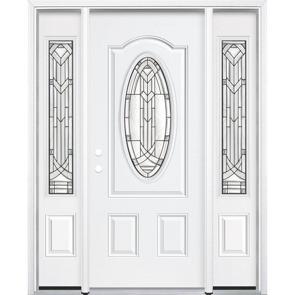 Masonite 65-inch x 80-inch x 6 9/16-inch Antique Black 3/4 Oval Lite Right Hand Entry Door with Brickmould