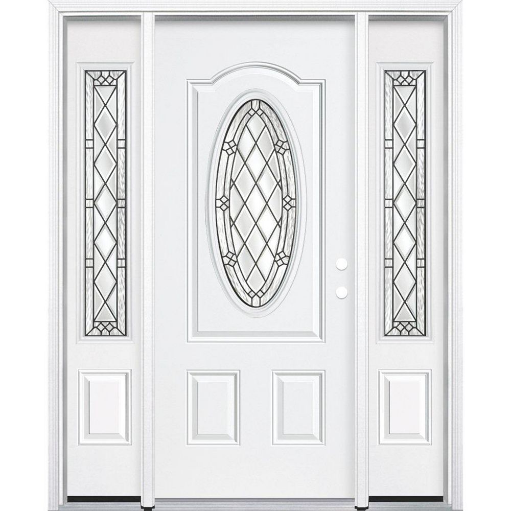 Masonite 69-inch x 80-inch x 6 9/16-inch Antique Black 3/4 Oval Lite Left Hand Entry Door with Brickmould