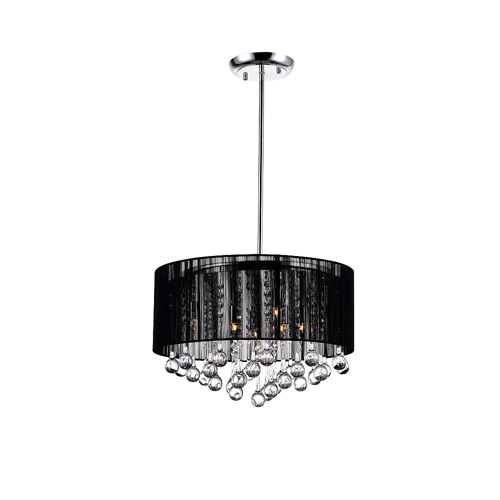 CWI Lighting Black Sheer 18 Inches Chandelier