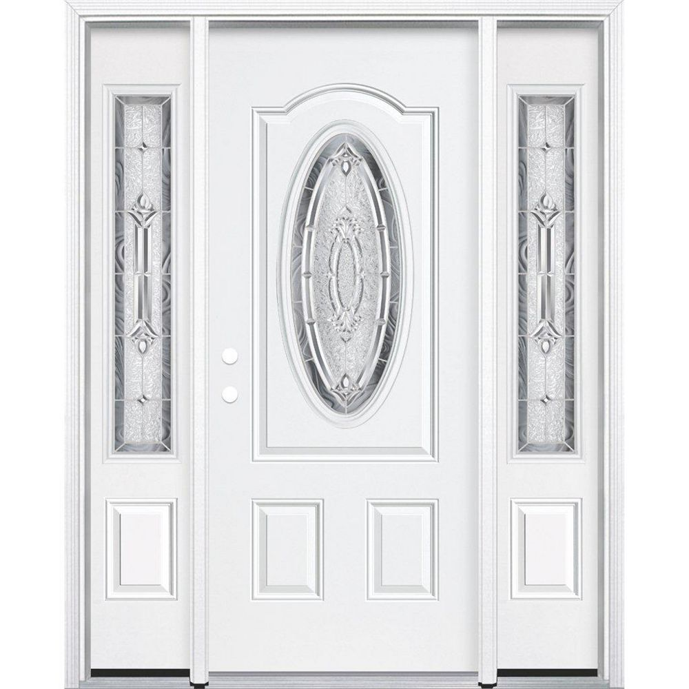Masonite 69-inch x 80-inch x 4 9/16-inch Nickel 3/4 Oval Lite Right Hand Entry Door with Brickmould