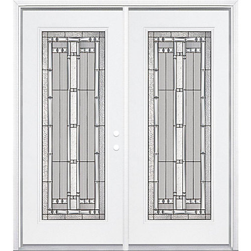 64-inch x 80-inch x 4 9/16-inch Antique Black Camber Full Lite Left Hand Entry Door with Brickmould - ENERGY STAR®