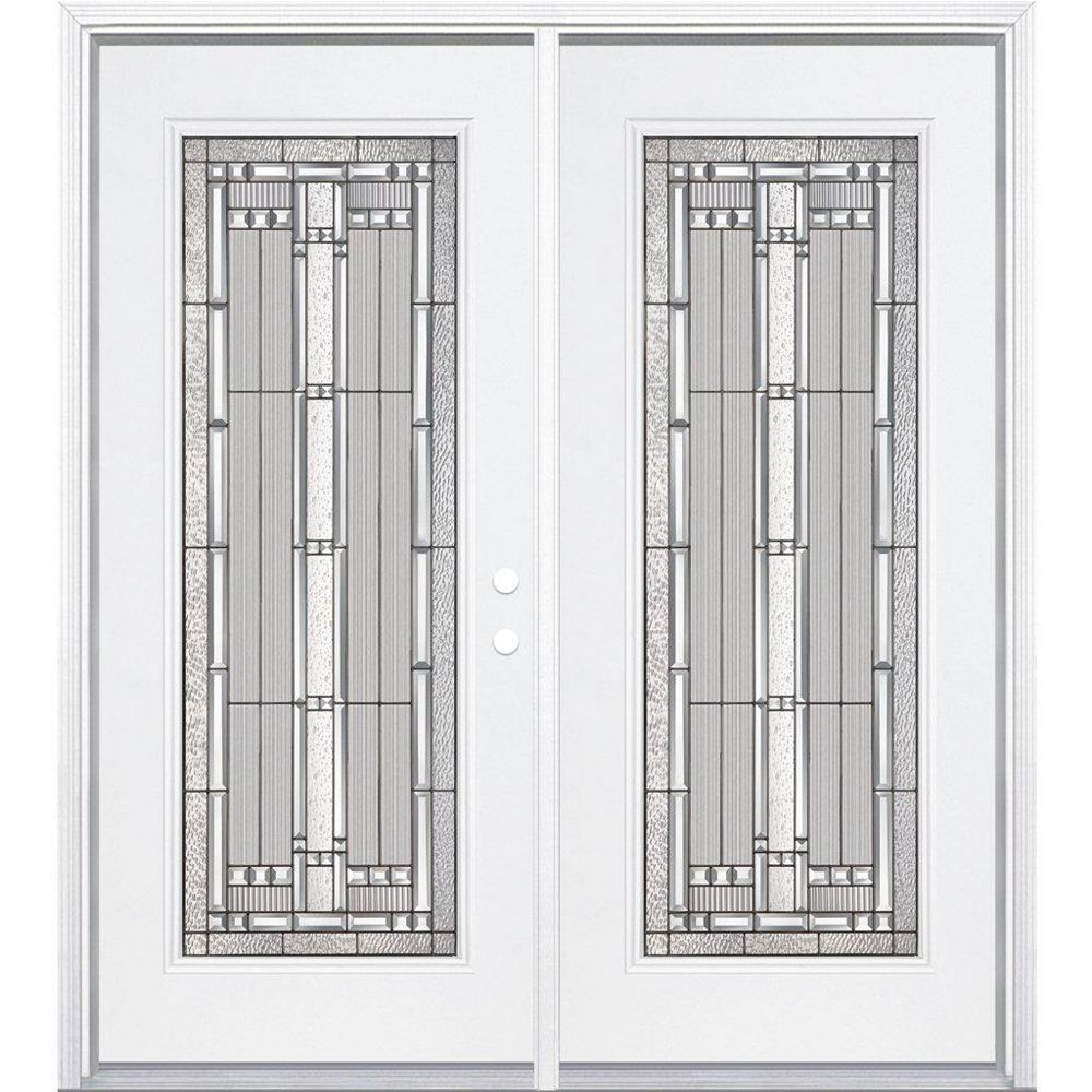 Masonite 64-inch x 80-inch x 4 9/16-inch Antique Black Camber Full Lite Left Hand Entry Door with Brickmould