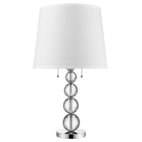 Lampe de table à incandescence chromée polie à 2 lumières