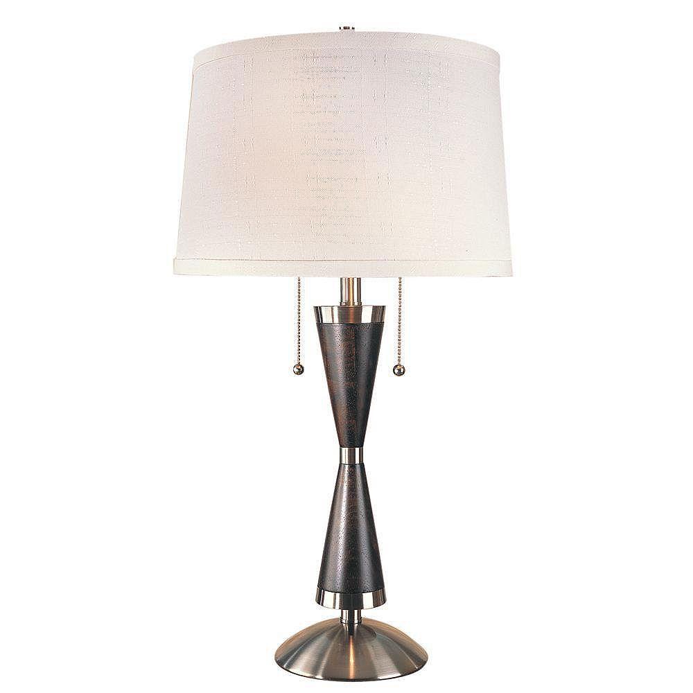 Trend Lighting 2 Light Table Dark Walnut/Brushed Nickel Incandescent Table Lamp